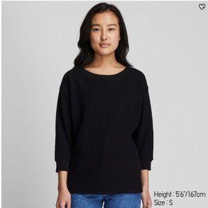UNIQLO Waffle Knit Crewneck 3/4 Sleeve Sweater   S